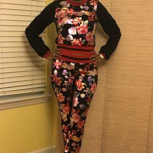 Floral Print Ladies Jogging Suit